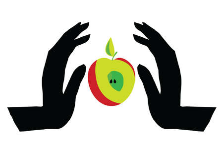 adam and eve: Vector illustration.Symbolize the forbidden fruit or a healthy lifestyle