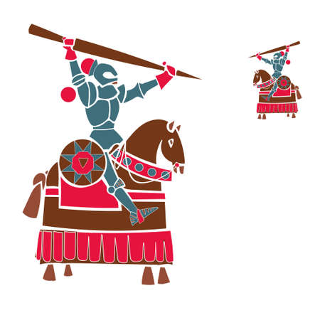 colorful handmade illustration depicting a knight in armor on horse