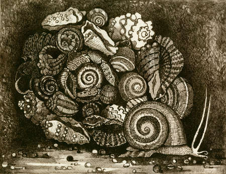 allegory painting: This work was done by hand in the technique of lithography
