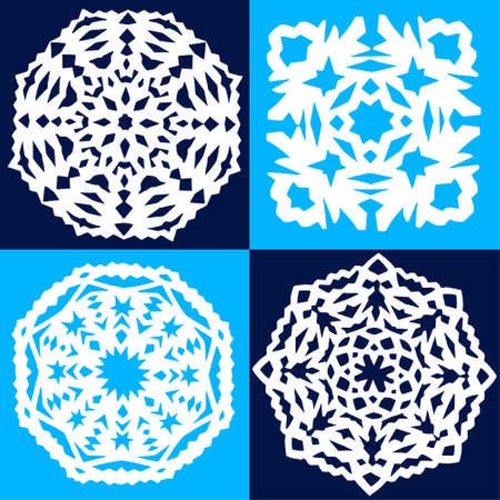 set of four paper snowflakes on a blue background Illustration