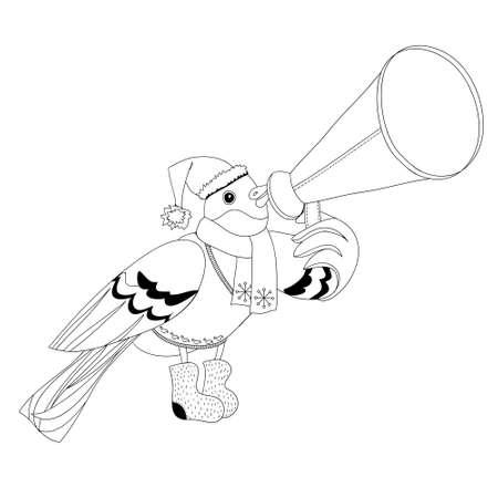 bullfinch: vector illustration depicting bullfinch with mouthpiece