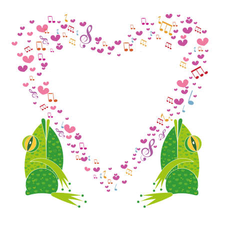 Two frogs on a background of hearts template valentine greeting two frogs on a background of hearts template valentine greeting cards the musical notes m4hsunfo