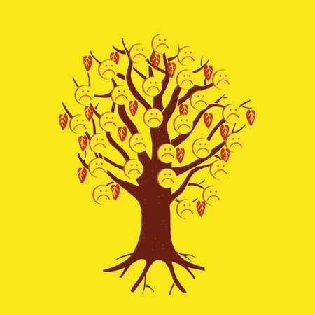 Flat design style. A tree with sad faces-smileys.