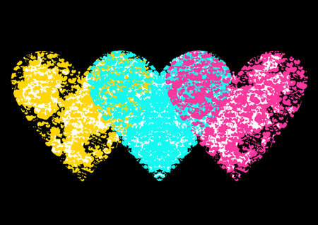 heart abstract: Bright creative vector illustration suitable as a print on a t-shirt Illustration