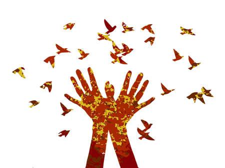 silhouette en couleur d'automne avec la texture des coeurs et de la musique