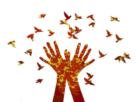 praise: silhouette in autumn color with the texture of hearts and music