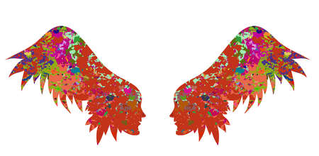 christmas military: The silhouette of the wings from female faces. Wings with a beautiful texture, a decorative element may serve as decorations for the wedding card, banner beauty salon or an original print for clothes