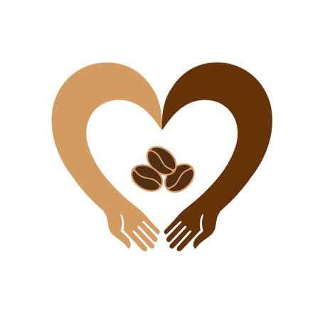 Mani a forma di cuore che abbracciano i chicchi di caffè