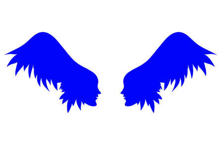 hair cover: two profiles of individuals with wing - hair , vector illustration of a silhouette on the banner, card, cover.