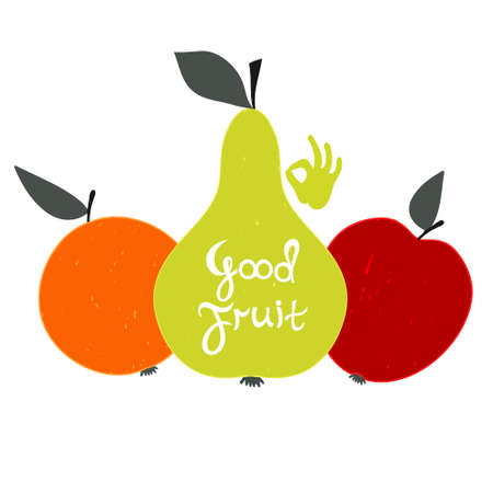illustration for advertising: Good fruit. Set of fruit with text. Perfect illustration for advertising, greeting card, poster.