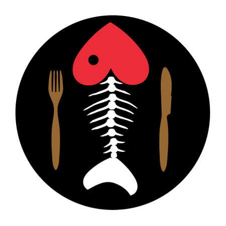 skeleton of fish: Love to fish. Fish skeleton. Fish bone on chalkboard with Cutlery .Vector illustration. Illustration