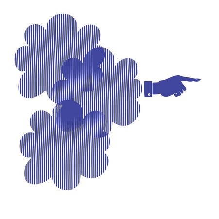 The silhouette of a hand with a pointing finger. Direction Sign vector Illustration