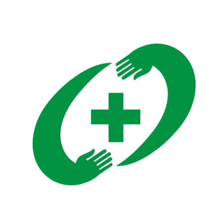 caring hands: Isolated green cross in vector. Pharmacy cross in the frame of two caring hands