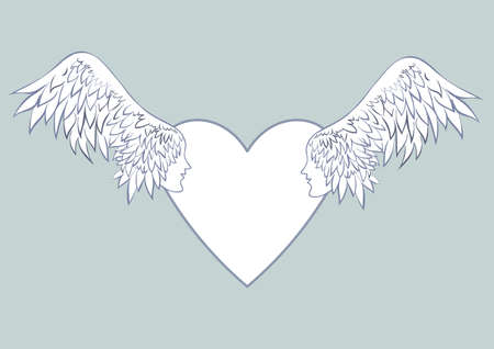 Angel wings with a human face in the frame in the shape of a heart. Pale blue background. Beautiful wedding cards or the blank wedding invitations