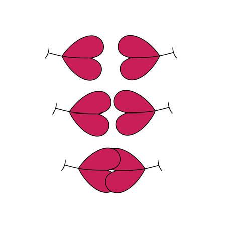 sensual: Lips with heart-shaped, original cute multipurpose vector