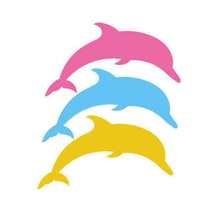 fin swimming: Set of silhouettes of dolphin. Vector silhouette on a white background. Illustration