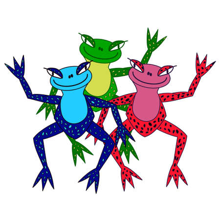 newt: Cute colored frogs, a childrens motive for printing and clothing