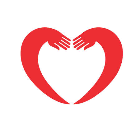 jealousy: the hands embrace the heart. the idea for the icon or stickers
