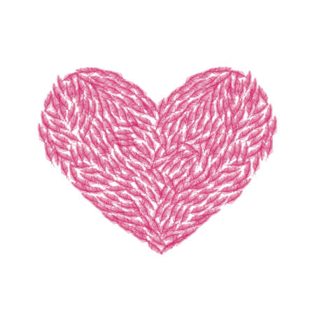 Vector illustration of the heart of the little pink feathers