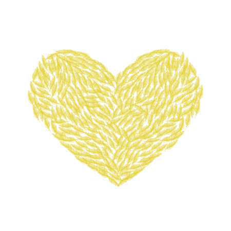 Vector illustration depicting a heart made of yellow feathers