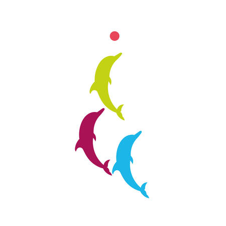 trio: Silhouette of three dolphins with the ball.  Vector silhouette on a white background.