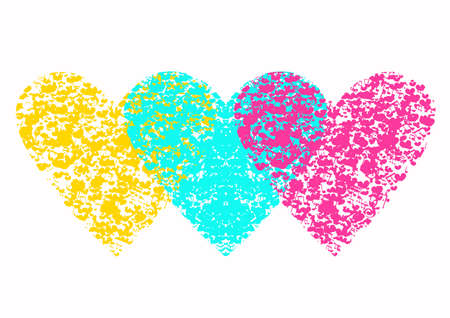 Set of hearts with colorful music notes and hearts on a black background