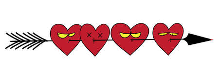 hitman: Arrow heart icon. Many hearts broken a ruthless arrow. Love sign. Valentines symbol. Vector illustration. Illustration