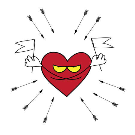 stalker: Picture of a heart that demands mercy from the arrows, raising the white flag.