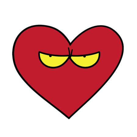 introverted: Heart with eyes on white background. Funny vector illustration