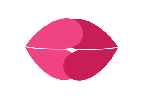 seduce: Vector illustration of a creative image of female lips in the shape of a heart. Illustration