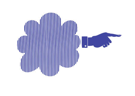 poke: Silhouette of Hand with pointing finger. Vector direction sign Illustration