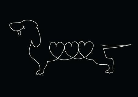 dachshund: black and white cartoon dachshund