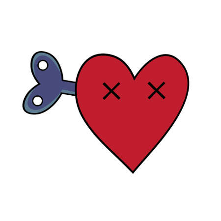 broken love: Dead heart with a clockwork mechanism. Modern flat style vector heart illustration.