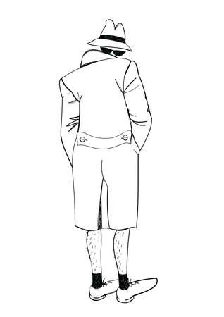 Vector illustration of an exhibitionist, sketch handmade