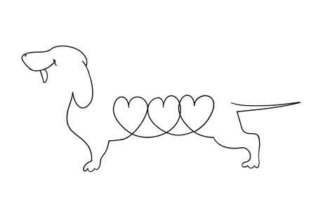 uit de vrije hand getekende zwart-wit cartoon teckel