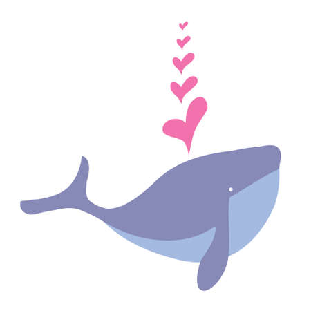 Cartoon whale cute happy mammal and cartoon whale underwater marine wildlife animal. Cetacean comic fin tail cheerful fountain mascot. Illustration