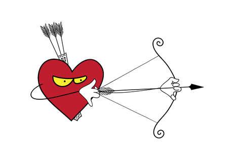 stalker: Vector cartoon heart attack. Vector illustration of heart, Valentines Day Illustration
