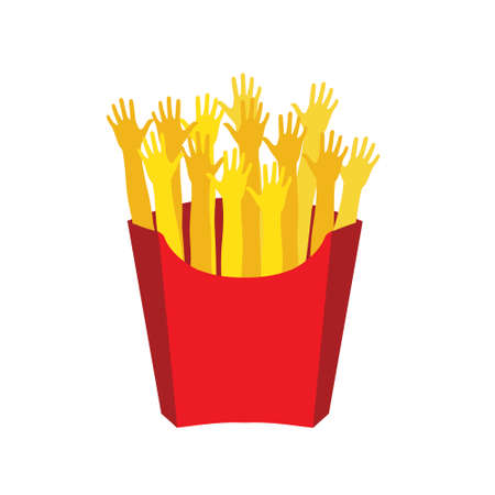 hi five: Vector illustration, flat design. French fries in paper box, isolated flat design. French fries fast food in a red package.