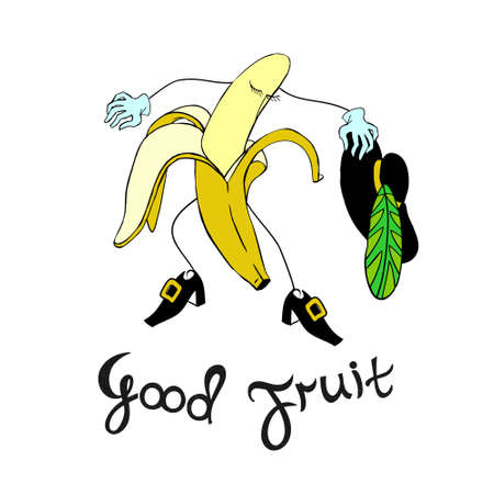 vector banana character with calligraphic inscription. Vector illustration Illustration