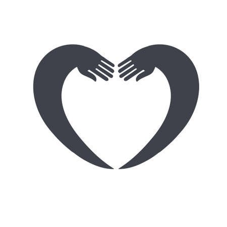 african american handshake: Heart  design template Negative space style. Donation idea. Valentines day concept. Cardiac medical Health Logotype.