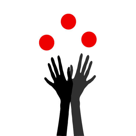 Icon of human hands juggling with balls Illustration