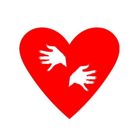 Heart hugs itself. Frozen heart. Illustration