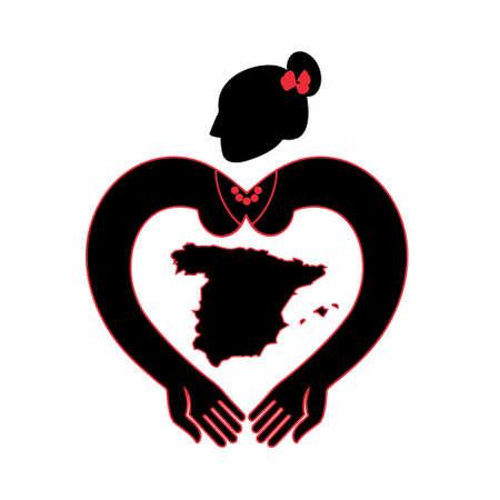 bailarina de flamenco: bailarina de flamenco con las manos en forma de corazón Vectores