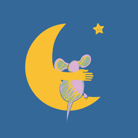 goodness: Vector illustration with the image of the mouse and the moon.