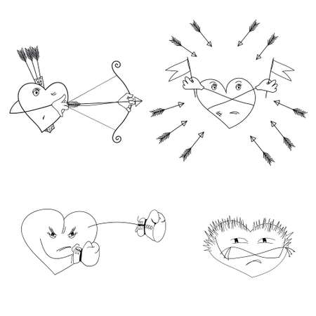 resentful: Set of hearts with different emotional state. Illustration