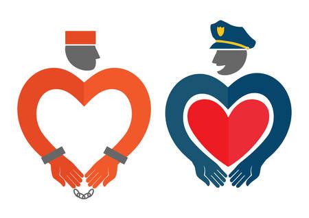 prison guard: Vector illustration with policeman and prisoner.