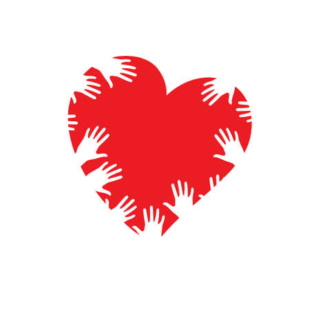 oncept: Many human hands on the heart. Vector illustration. ?oncept of love.