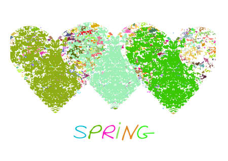 Fresh spring background with hearts and calligraphic inscription.