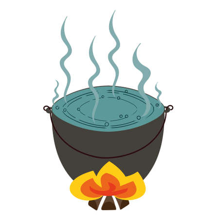 steam iron: vector representing a tourist pot of boiling water on the fire Illustration