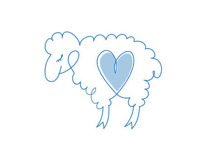 Hand drawn sheep icon. Sheep icon isolated on white background.